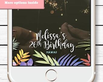 30th Birthday Snapchat Filter, Birthday Geofilter, Snapchat Geofilter Birthday, Birthday Luau Decorations, Luau Geofilter, Palm leaf filter