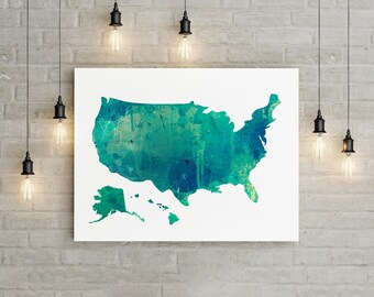 United States Map Wall Art Usa Watercolor Map United States Print Green Map Wall Art America Map Print Usa Map Wall Art Usa Map Print