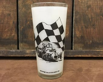 1976 Ayr-Way Collector Series Indy 500 Racing Frosted Drinking Glass