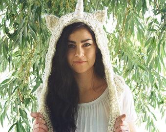 White Unicorn Hood, Spirit Hood, Festival Hood, Hand Knit Unicorn Hood, Renaissance, Medieval Hood, Rave Clothing, Unicorn Hat, EDC Outfit
