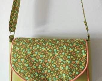 handbag bag, Green Apple and flap ornate//crossbody shoulder bag