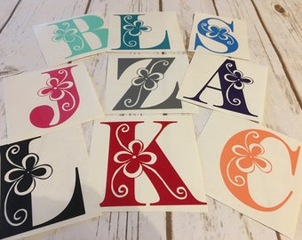 Letter monogram -single letter decal -  vinyl decal - tumbler decal - YETI decal - personalized decal - flower letter decal - monogram