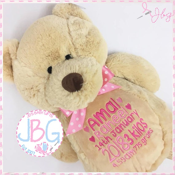 Jos baby gifts personalised teddy bear embroidered bears personalised baby gift christening or new baby gift negle Image collections