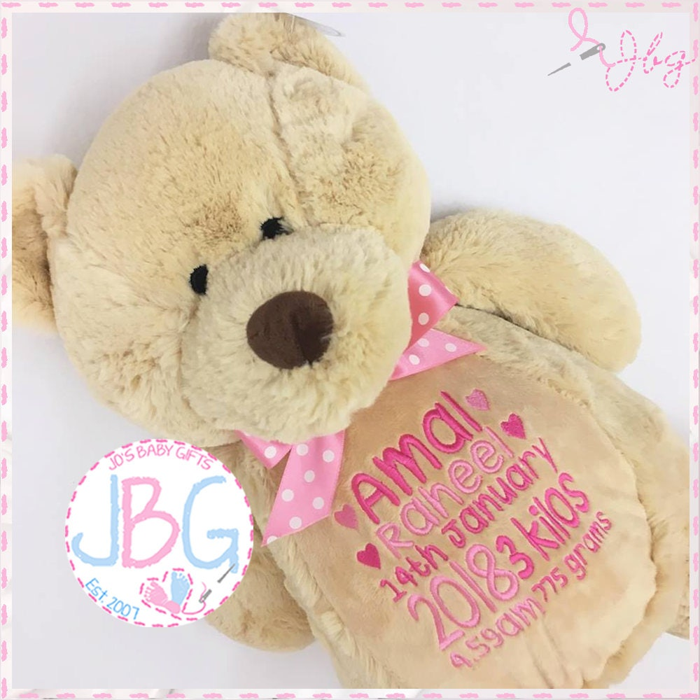 Personalised teddy bear embroidered bears personalised baby gift personalised teddy bear embroidered bears personalised baby gift christening or new baby gift birth stats any text embroidered teddy negle Images