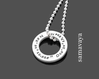 Necklace with engraving GEO RING 925 Silver chain with coordinates