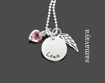 SPARKLING baptism necklace 925 sterling silver chain to the baptism name chain heart and wings