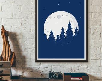 Full Moon, printable, wall art, digital prints, illustration poster, wall décor