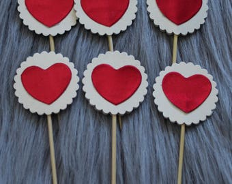 Love Heart Cupcake Toppers, Cake Toppers. Perfect for Party Decorations, Valentine's Day, Weddings or Bridal Shower