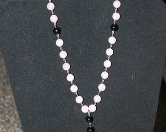 Rose Quartz and Black Agate Anglican Rosary