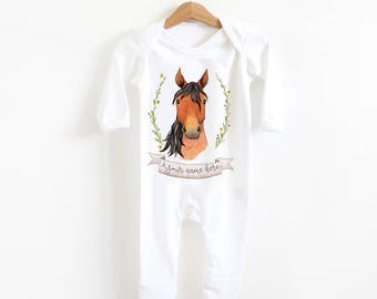 Watercolour horse baby romper suit - personalised body suit, baby grow, baby shower gift, newborn, new baby, pony, Equestrian baby clothes