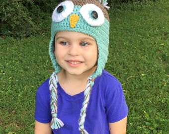 Crochet Owl Earflap Hat, Newborn Baby Owl Hat, Newborn Photo Prop, Youth Earflap Owl Hat,Baby Shower Gift,Infant Hospital Hat,Owl Beanie Hat