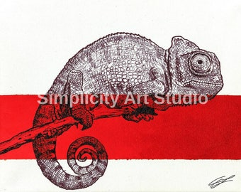 Chameleon Original Artwork Prints / Various Colors Available/ Various Sizes Available