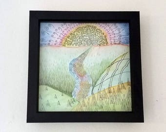 Framed Original Mixed Media Painting - 'Cereal Boxes and Dreams'