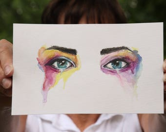 Watercolor Eyes Painting, Dripping Paint, Eye Painting