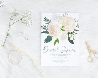 Bridal Shower Invitation | Printed Invitation | Floral Bridal Shower Invitation | Kitchen Tea Invitation | Greenery Eucalyptus Flowers