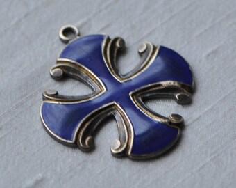 Small Maltese Cross Medieval Gothic Style Royal Blue Surfer Cross Christian Enameled Brass