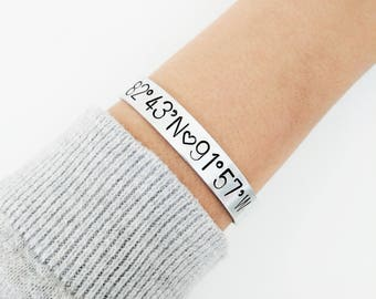Personalized Coordinate Bracelet // Custom Hand Stamped + Coordinate + Friendship Bracelet + Home Location Bangle + Mantra + Best Friends