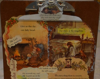 Tasha Tudor's artwork on a decoupaged clipboard features the 23rd Psalm
