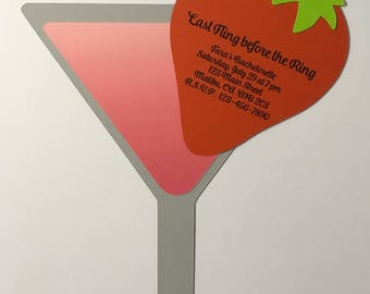 Strawberry Martini Invitations, Bachelorette, Girls Night, Pocket Invite, Die Cut (5 pack)