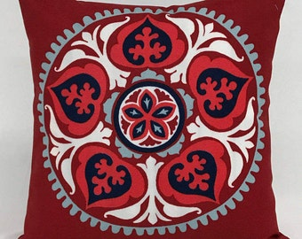 Pillow Cover   16 X 16 Outdoor Pillow  Red Medallion Design  Tribal Pillow