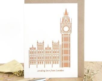 Love from London card, London Big Ben card, London landmark card, Traveling to London card, UK travel card, Londoner card, Love London card
