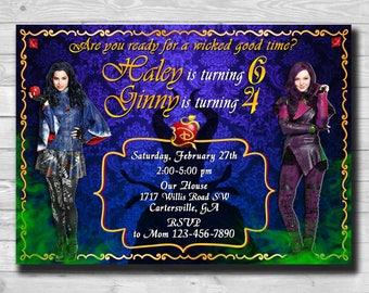 Descendants 2 Invitations-Twins Descendants Invitation-Siblings Descendants Invite-Descendants Birthday-Descendants Party Supplies-Evie-Mal