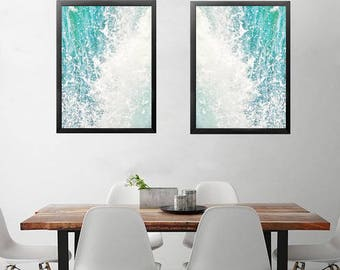 Abstract Ocean Photography, Blue Abstract Art, Modern Beach Decor, Ocean Print, Waves Photo, Nautical Decor, waves photo download