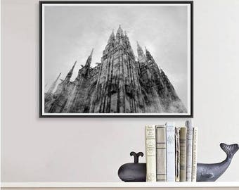 Duomo di Milano, Milan Cathedral print, Italy photo, architecture print, large wall art, black and white print, Europe photo, chapel print