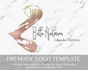 Rose Gold Foil Open Lip Makeup and LipSense Logo Template