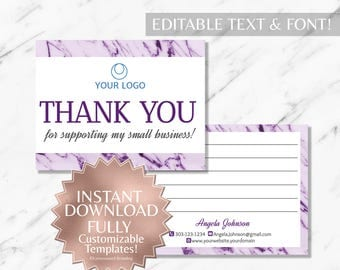 Purple Marble and White Hair Salon and Monat Business Thank  You Card INSTANT Template