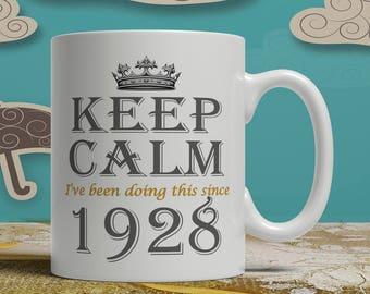 Keep Calm 90th Birthday mug, 90th birthday idea, born 1928 birthday, 90th birthday gift, 90 years old, Happy Birthday, EB 1928 Keep