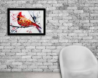Cardinal watercolor print, Cardinal art, Cardinal print, Watercolor bird, Watercolor cardinal, Bird print, Bird nursery