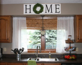 Home Wood Sign with Wreath Decorative Wood Sign Housewarming Gift