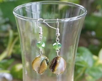 Green Shell Earrings,  Women's Earrings,  Green Crystal Earrings