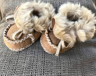 Newborn Moccasin Boots, Suede Leather Faux Fur Lined