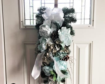 Shimmer Ranunculus Swag, Winter Swag, Christmas Swag Wreath, Door Wreath, Door Swag, Floral Wreath, Rustic Holiday Swag, White Holiday Decor