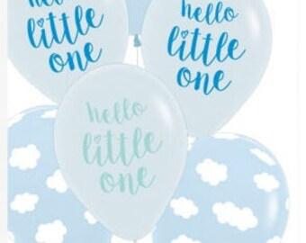 Baby Shower / Birth Balloons - Hello Little One Baby Boy Pkt 6 balloons 30cm in size
