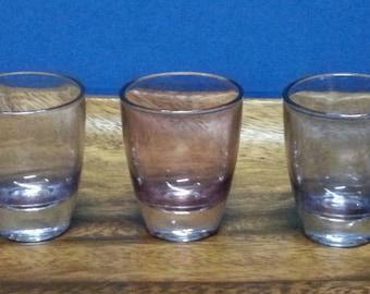 Vintage Carnival Glass Shot Glasses / Retro Blue and Pink Shot Glasses / French Shot Glasses