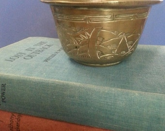 Vintage Etched Brass Bowl / Chinese Etched Brass Bowl