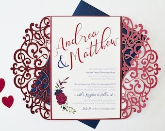 Burgundy Invitation, Laser Cut Invitation, Marsala Wedding Invitation, Winter  Wedding Invitation, Autumn