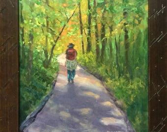 """Original Oil  Painting Framed Landscape """"Ron's Red Backpack"""""""