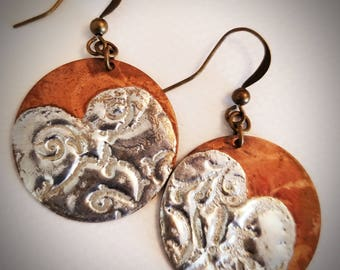 Copper disks with molten silver solder earrings