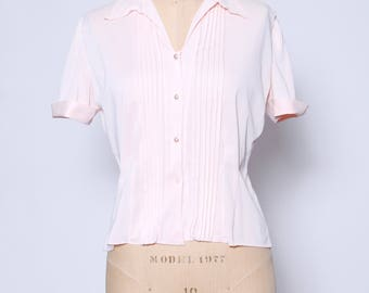 Vintage 60s pink embroidered blouse / short sleeve pleated top / button down blouse