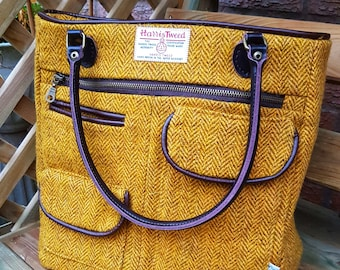 Harris Tweed Tote Bag with pockets