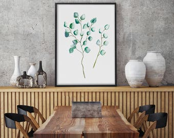 Silver Dollar Eucalyptus, Print Giclee of Original Watercolor Painting, Illustration, Drawing, Green Blue Plant Decoration