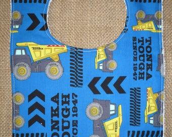 Handmade Toddler Food Bib - Tonka Truck