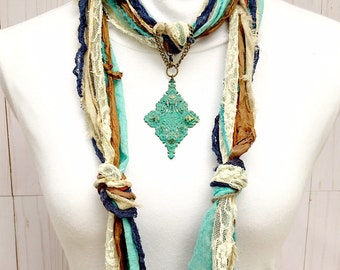 Turquoise Scarf Jewelry | Turquoise Filigree Pendant | Scarf Necklace Jewelry | Metal Turquoise Scarf Pendant | Scarf Ring | Scarf Slide