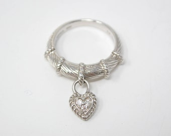 Designer Judith Ripka Sterling Silver Diamonique Heart Charm Cable Ring - 594334483