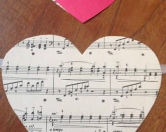 Heart banner/Valentine Day banner/music paper banner/