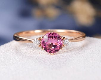 Tourmaline Engagement Ring Pink Rose Gold Three Stone Rubellite Women October Birthstone Wedding Unique Diamond Anniversary Gift Cluster